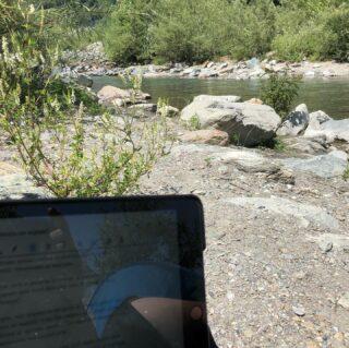 Un iPad Una connessione Un torrente La frescura degli alberi L'aria aperta  Questo è #smartworking